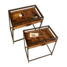 Table with Curio Pull Out Drawer and Tempered Glass Top (2 pc. set) Product Image