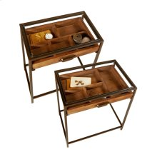 Table with Curio Pull Out Drawer and Tempered Glass Top (2 pc. set)
