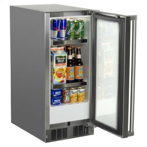 "Marvel15"" Marvel Outdoor Refrigerator - Solid Stainless Steel Door with Lock - Left Hinge"