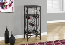 "HOME BAR - 40""H / BLACK METAL WINE BOTTLE AND GLASS RACK"