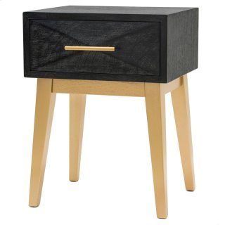 Leonardo KD End Table 1 Drawer Gold Legs, Black Wash *NEW*