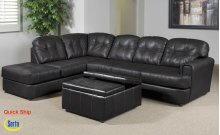 Eastern Charcoal Bonded Leather Left Facing Chaise
