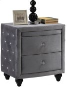 "Hudson Grey Velvet Night Stand - 27.5""L x 19""D x 28""H Product Image"