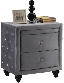 "Hudson Grey Velvet Night Stand - 27.5""L x 19""D x 28""H"