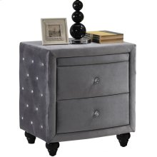"Hudson Grey Velvet Night Stand - 27.5"" W x 19"" D x 28"" H"