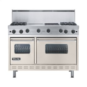 "Oyster Gray 48"" Open Burner Commercial Depth Range - VGRC (48"" wide, four burners 12"" wide griddle/simmer plate 12"" wide char-grill)"