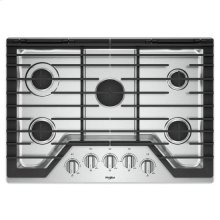 Whirlpool® 30-inch Gas Cooktop with EZ-2-Lift™ Hinged Cast-Iron Grates - Stainless Steel