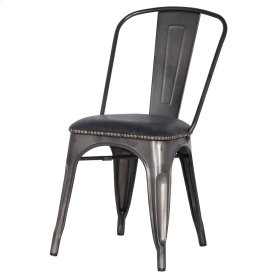 Metropolis KD PU Metal Side Chair, Vintage Black