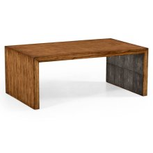 Argentinian Walnut & Anthracite Faux Shagreen Coffee Table