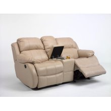 Brandon Leather Gliding Reclining Loveseat with Console