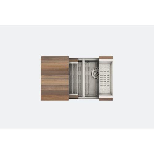 "SmartStation 005456 - undermount stainless steel Kitchen sink , 18"" × 18 1/8"" × 10""  12"" × 18 1/8"" × 10"" (Walnut)"
