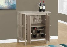 """HOME BAR - 36""""H /DARK TAUPE WITH BOTTLE AND GLASS STORAGE"""