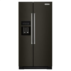 Kitchenaid22.7 Cu. Ft. Counter Depth Side-by-Side Refrigerator with Exterior Ice and Water - Black Stainless