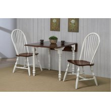DLU-ADW3448-C30-AW3PC  3 Piece Drop Leaf Dining Set  Antique White with Chestnut Top  Spindleback Chairs