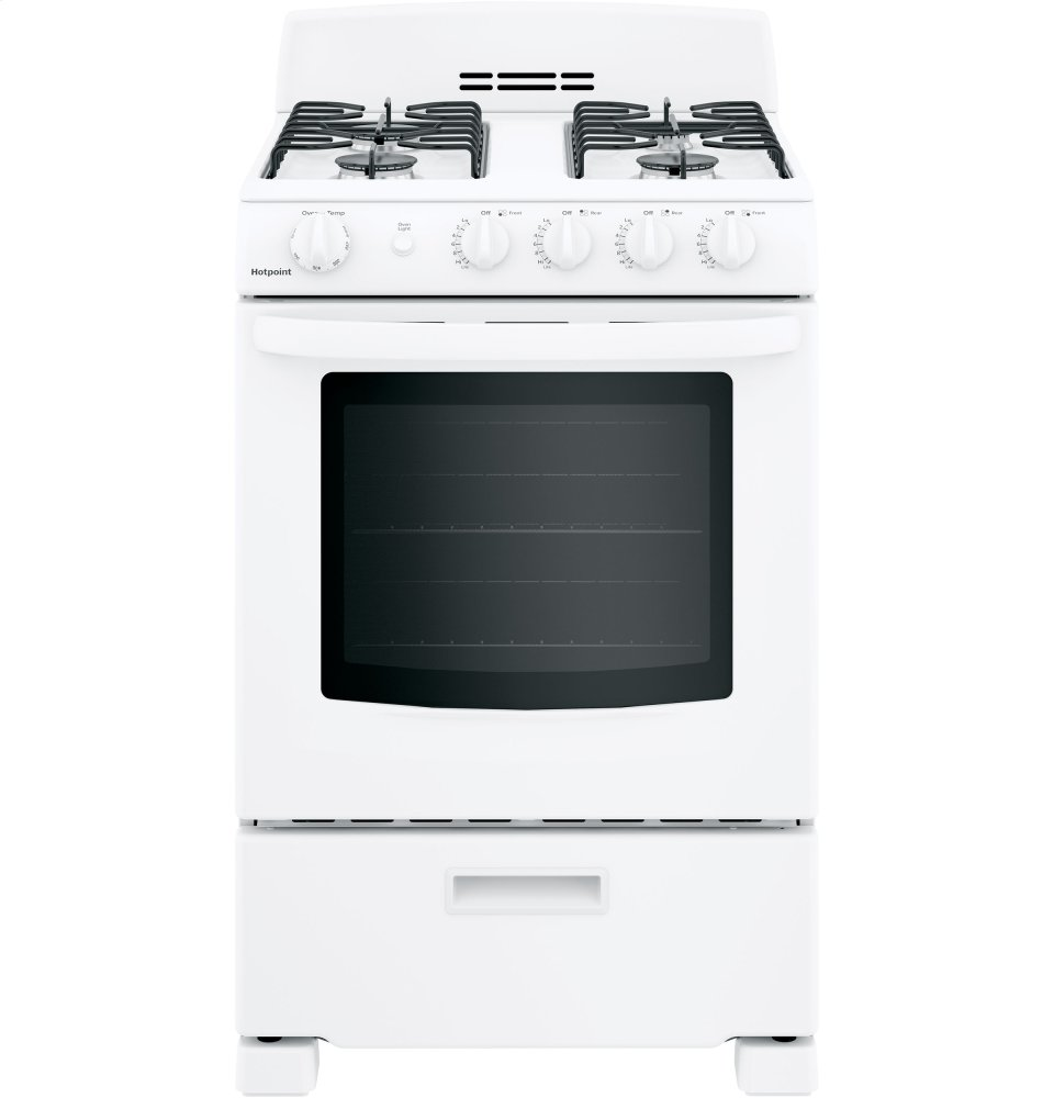 "Hotpoint(R) 24"" Front-Control Free-Standing Gas Range with Large Window