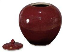 Red Ceramic Vase W/Lid