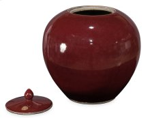 Red Ceramic Vase W/Lid