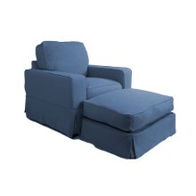 Sunset Trading Americana Slipcovered Chair and Ottoman - Color: 410046