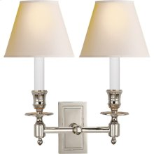 Visual Comfort S2212PN-NP Studio French 2 Light 12 inch Polished Nickel Decorative Wall Light in Natural Paper