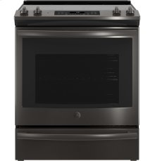 """GE® 30"""" Slide-In Electric Convection Range-Black Stainless"""