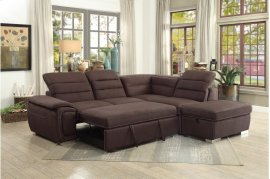 Sectional with Pull-out Bed and Storage Ottoman