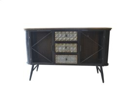 3 Drawer 2 Door Accent Cabinet-galvanized Board Drawer Front-antique Black Finish -su