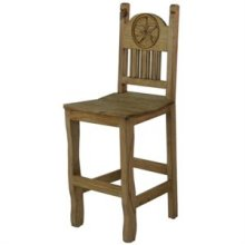 """17"""" x 43"""" x 24"""" Barstool W/Wood Seat & Star Barstool with Wood Seat and Star"""