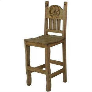 "17"" x 43"" x 24"" Barstool W/Wood Seat & Star Barstool with Wood Seat and Star"