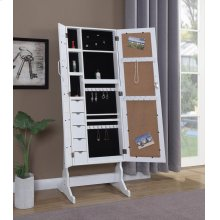 Transitional White Jewelry Cheval Mirror