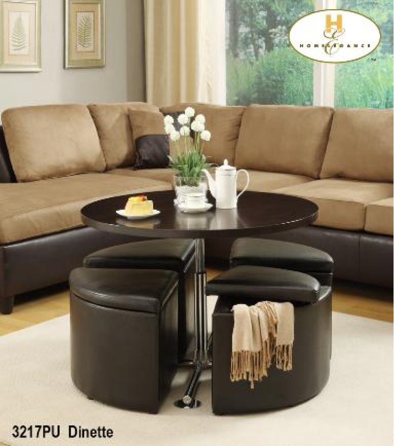 Hidden Additional Round Gas Lift Coffee Table Dinette With 4 Ottomans