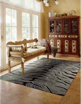 CONTOUR CON30 BLKGY RECTANGLE RUG 5' x 7'6''
