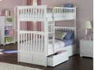 Columbia Bunk Bed Twin over Twin with Raised Panel Bed Drawers in White Product Image