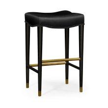 Black Bar Stool, Upholstered in Black Leather
