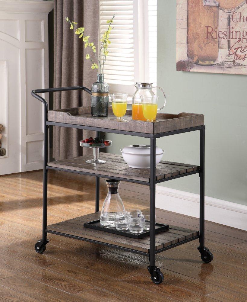 Emerald Home Wheeler Bar Cart Reclaimed Wood, Ac426 07