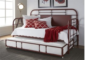 Twin Metal Day Bed w Trundle - Red