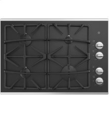 """30"""" Built-In Gas on Glass Deep Recessed Stainless Steel Cooktop"""