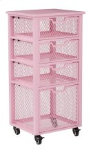 Clayton 4 Drawer Rolling Cart In Pink Metal Finish Frame, Fully Assembled. Product Image