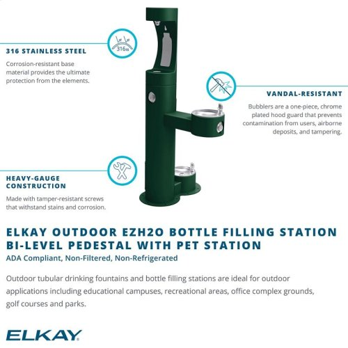 Elkay Outdoor EZH2O Bottle Filling Station Bi-Level, Pedestal with Pet Station Non-Filtered Non-Refrigerated