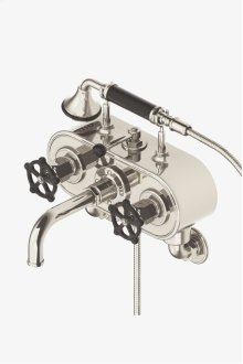 Regulator Exposed Wall Mounted Tub Filler with Handshower and Black Wheel Handles STYLE: RGXT20