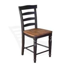 "24""H Bourbon County Ladderback Barstool w/ Wood Seat"