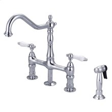 Emral Kitchen Bridge Faucet - Porcelain Lever Handles - Brushed Nickel
