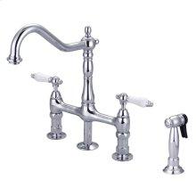 Emral Kitchen Bridge Faucet - Porcelain Lever Handles - Polished Chrome