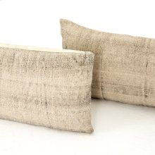 "12x28"" Size Faded Grey Cotton Pillow, Set of 2"