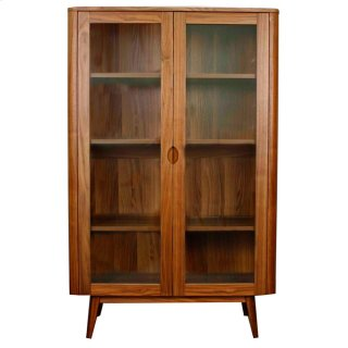 Milano Glass Door Cabinet, Walnut