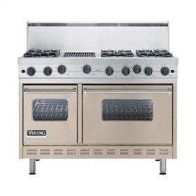 "Taupe 48"" Open Burner Commercial Depth Range - VGRC (48"" wide, six burners 12"" wide char-grill)"