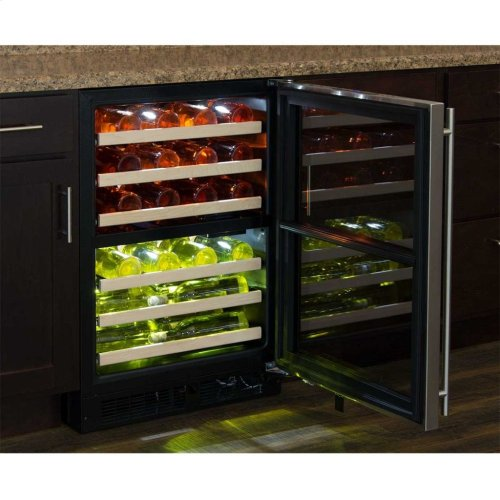 "Marvel 24"" High Efficiency Dual Zone Wine Refrigerator - Black Frame, Glass Door - Left Hinge, Stainless Designer Handle"