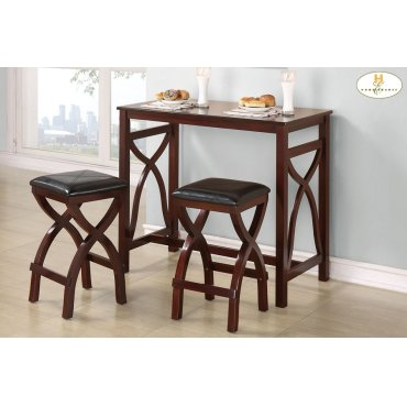 3-Piece Pack Counter Height Breakfast Set Table: 42 x 22 x 36H Stool: 14 x 14 x 25H