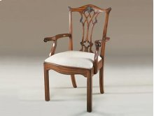 CARVED AGED REGENCY FINISHED M AHOGANY CHIPPENDALE STRAIGHT L EG ARMCHAIR, CARAMEL FABRIC