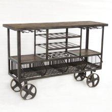 """Industrial Teak Bar Trolley 60"""""""