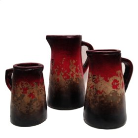 Textured Red gray Pitchers w/writing (Set of 3)